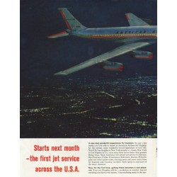 "1958 American Airlines Ad ""Across the continent"""