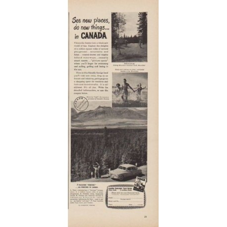 """1949 Canada travel Ad """"See new places, do new things ... in CANADA"""""""