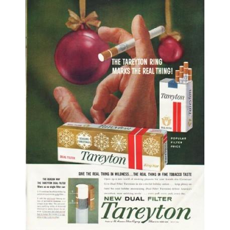"""1958 Tareyton Cigarettes Ad """"marks the real thing"""""""