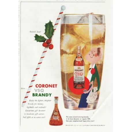 "1958 Coronet Brandy Ad ""Season's best"""