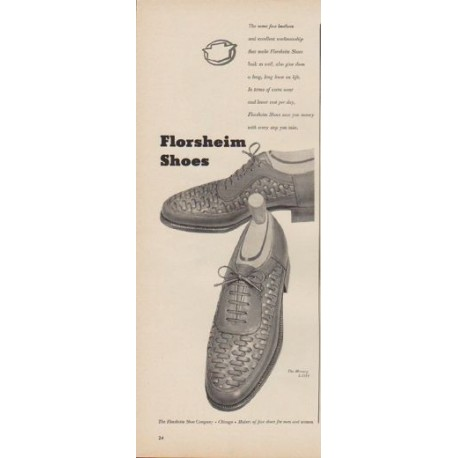 "1949 Florsheim Shoes Ad ""The same fine leathers ..."""