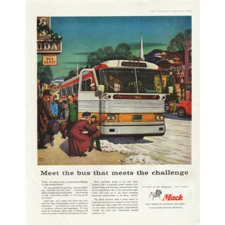 "1958 Mack Trucks Ad ""Meet the bus"""