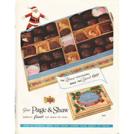 "1958 Page & Shaw Ad ""The Nicest Chocolates"""