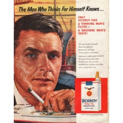 "1958 Viceroy Cigarettes Ad ""The Man Who Thinks"""