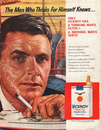 1958 viceroy cigarettes vintage ad quotthe man who thinksquot