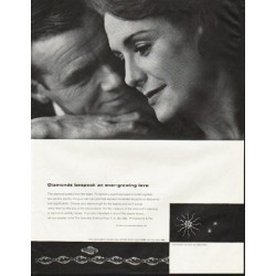 "1964 De Beers Diamond Ad ""an ever-growing love"""