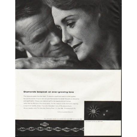 """1964 De Beers Diamond Ad """"an ever-growing love"""""""