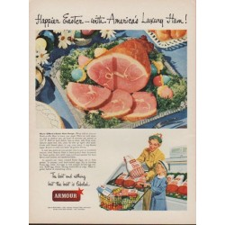"1949 Armour Ad ""Happier Easter -- with America's Luxury Ham!"""