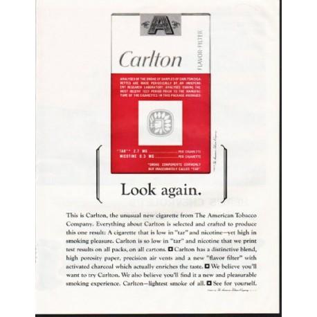 "1964 Carlton Cigarettes Ad ""Look again"""