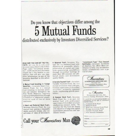 "1964 Investors Diversified Services Ad ""5 Mutual Funds"""