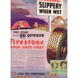 "1937 Firestone Tires Ad ""Slippery When Wet"""