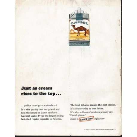 "1964 Camel Cigarettes Ad ""Just as cream rises"""