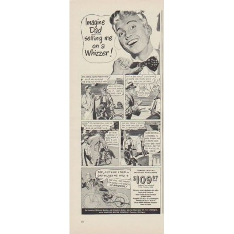 "1949 Whizzer Motor Company Ad ""Imagine Dad selling me on a Whizzer !"""