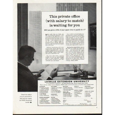 "1965 LaSalle Extension University Ad ""This private office"""