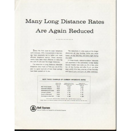 "1965 Bell System Ad ""Long Distance Rates"""