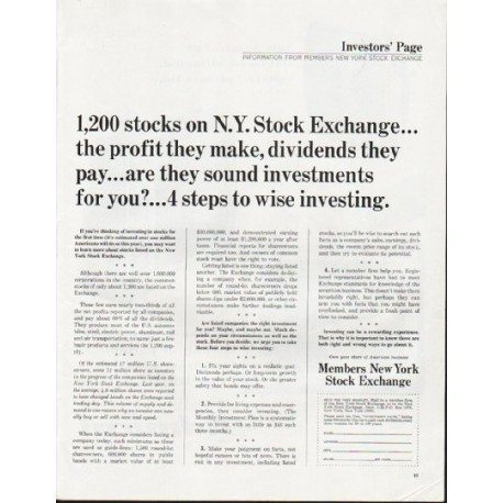 "1965 Members New York Stock Exchange Ad ""1,200 stocks"""