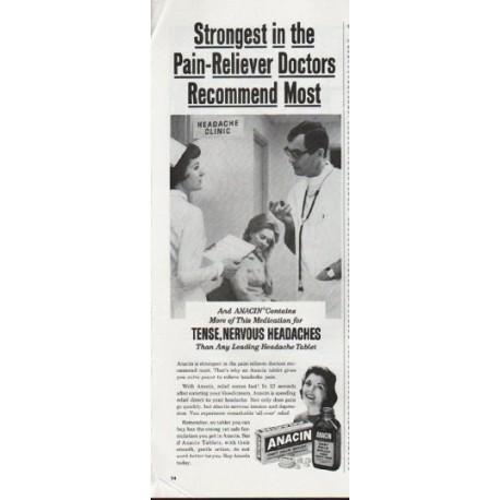 "1965 Anacin Vintage Ad ""Strongest in the Pain-Reliever"""