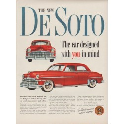 """1949 De Soto Ad """"The car designed with you in mind"""""""