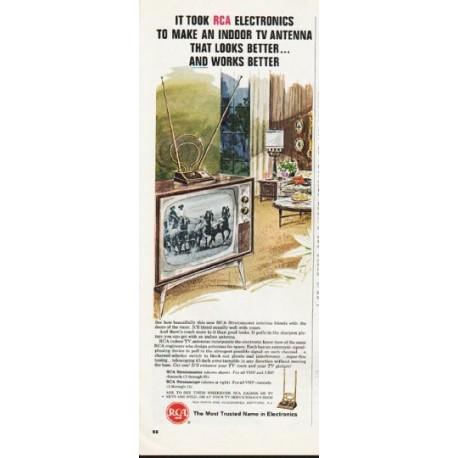 "1965 RCA Electronics Ad ""Indoor TV Antenna"""