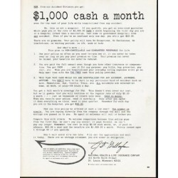 "1965 National Health & Life Insurance Company Ad ""cash"""