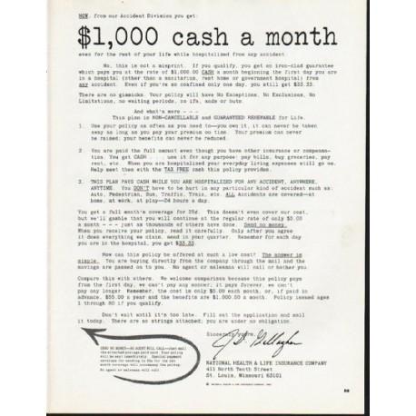 "1965 National Health & Life Insurance Company Ad ""cash"""