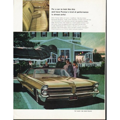 """1965 Pontiac Bonneville Ad """"almost sinful"""" ~ (model year 1965)"""