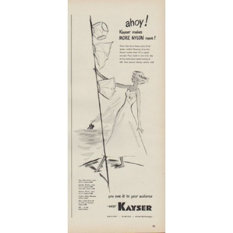 "1949 Kayser Nylon Ad ""ahoy! Kayser makes More Nylon news!"""
