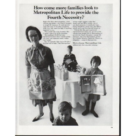 "1965 Metropolitan Life Insurance Ad ""the Fourth Necessity"""