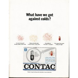 "1965 Contac Cold Medicine Ad ""against colds"""