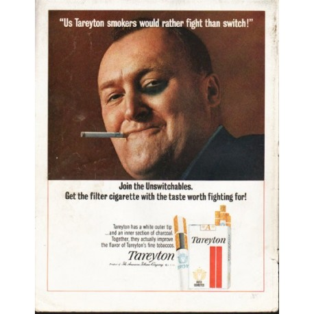 "1965 Tareyton Cigarettes Ad ""rather fight than switch"""