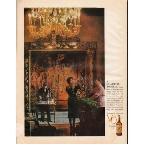 """1961 Seagram's V.O. Canadian Whisky Ad """"Quarter to Six"""""""