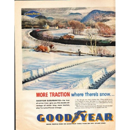 "1961 Goodyear Tires Ad ""where there's snow"""