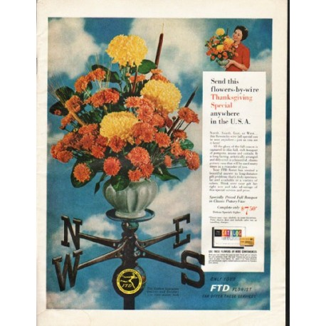 """1961 Florists' Telegraph Delivery Ad """"flowers-by-wire"""""""