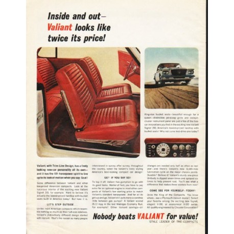"""1962 Chrysler Valiant Ad """"Inside and out"""" ~ (model year 1962)"""