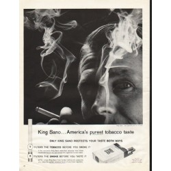 "1961 King Sano Cigarettes Ad ""purest tobacco taste"""