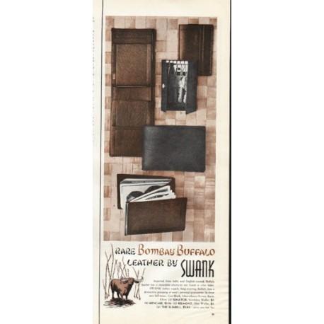"""1961 Swank Wallet Ad """"Bombay Buffalo"""""""