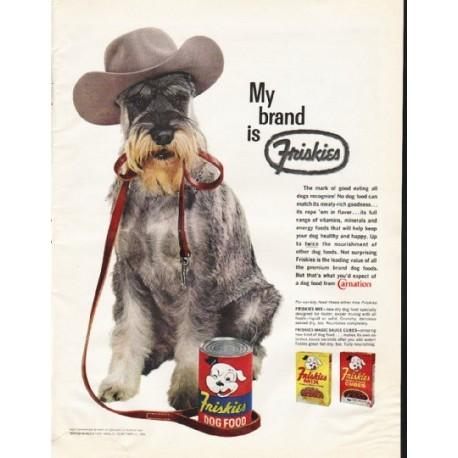 "1961 Friskies Dog Food Ad ""My brand"""