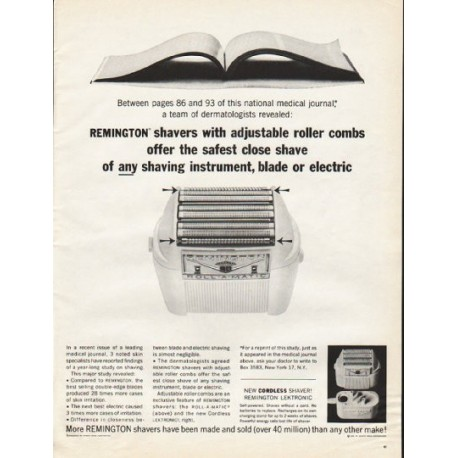 "1961 Remington Shaver Ad ""adjustable roller combs"""