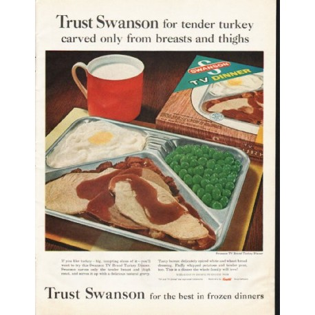 "1961 Swanson TV Dinner Ad ""tender turkey"""