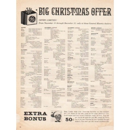 "1961 General Electric Ad ""Big Christmas Offer"""