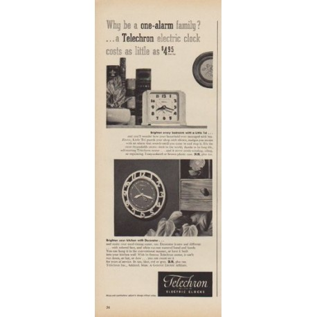 "1949 Telechron Ad ""Why be a one-alarm family?"""