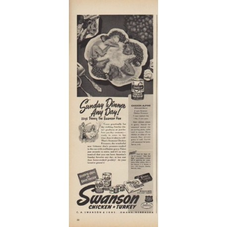 "1949 Swanson Ad ""Sunday Dinner Any Day!"""