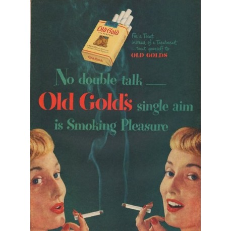 "1949 Old Gold cigarettes Ad ""No double talk"""