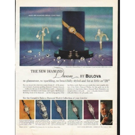 "1961 Bulova Watch Ad ""The New Diamond"""