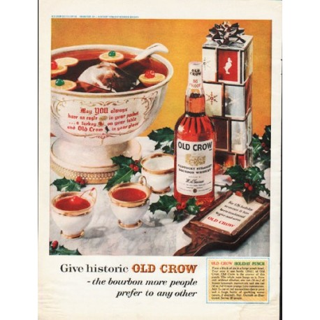 """1961 Old Crow Bourbon Whiskey Ad """"historic Old Crow"""""""