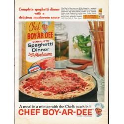 "1961 Chef Boy-Ar-Dee Ad ""Complete spaghetti dinner"""