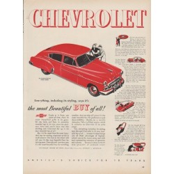 "1949 Chevrolet Ad ""Fleetline DeLuxe 4-Door Sedan"""