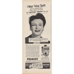 "1949 Polident Ad ""I Wear False Teeth"""