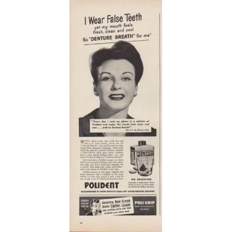 "1949 Polident Ad ""I Wear False Teeth"""