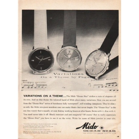 """1961 Mido Watch Ad """"Variations On A Theme"""""""